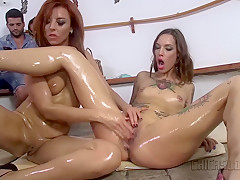 CHICAS LOCA – Spanish play with sex toys in wild public lesbian sex session
