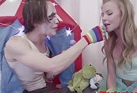Facefucked glam teen gets anally pounded