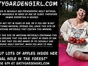 Dirtygardengirl put lots of apples inside anal hole public