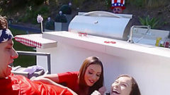 Naughty Mom & Daughter Share Stepson Cock On July 4th Celebrations