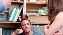 Guy Watches Corrupt Store Guard Fuck His Teen Shoplifter Girlfriend