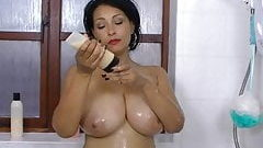 Danics Collins soaps her big firm tits