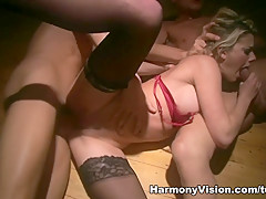 Fabulous pornstars Annette Schwarz, Chloe Delaure in Crazy Pornstars, Threesomes sex clip