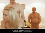 Seven old dicks gang bangs cute young blonde in all holes