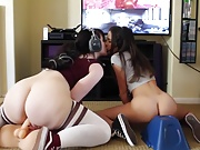 Gamers riding a joystick