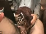 French Lola. Gang blowjob and piss in a public toilet